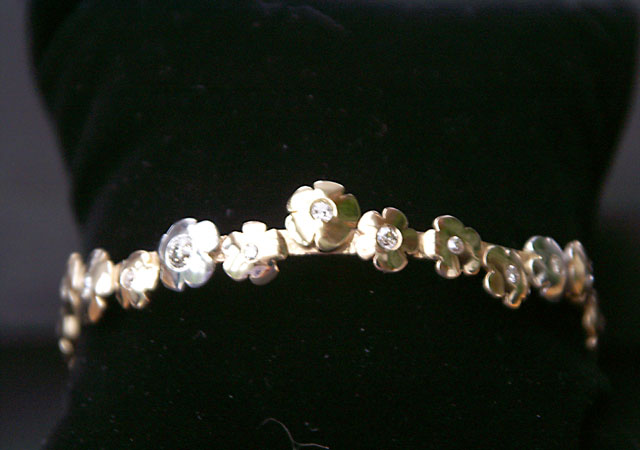 Diamond Set Flower Bangle